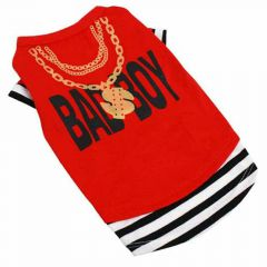 "Camiseta roja para perros grandes ""Bad Boy"" de DoggyDolly"