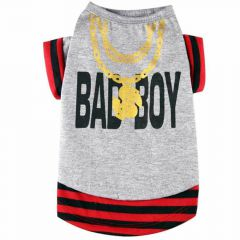 "Camiseta para perros grandes ""Bad Boy"" de DoggyDolly, gris"