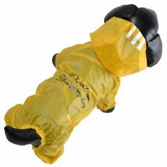"Chubasquero amarillo semitransparente para perros ""Walking In The Rain"" con 4 mangas"